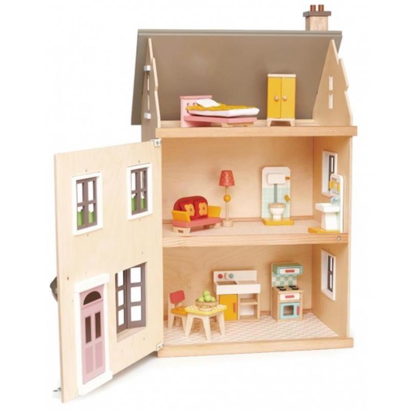 Puppenhaus mit drei Etagen und Möbel in Naturfarben