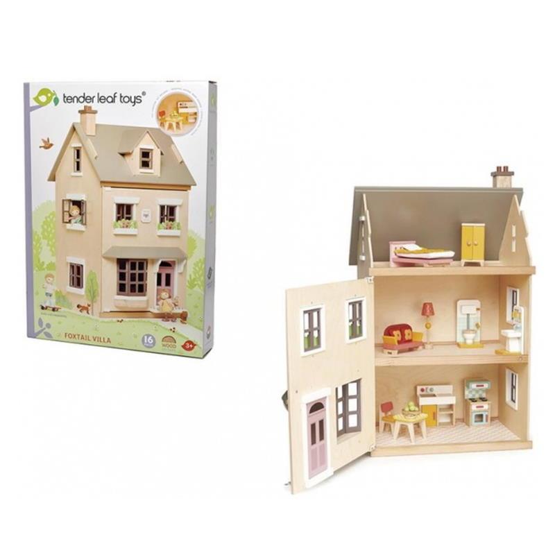 Verpackung vom Spielhaus und ein Spielhaus dreistöckiges mit Möbel bestücktes Puppenvilla