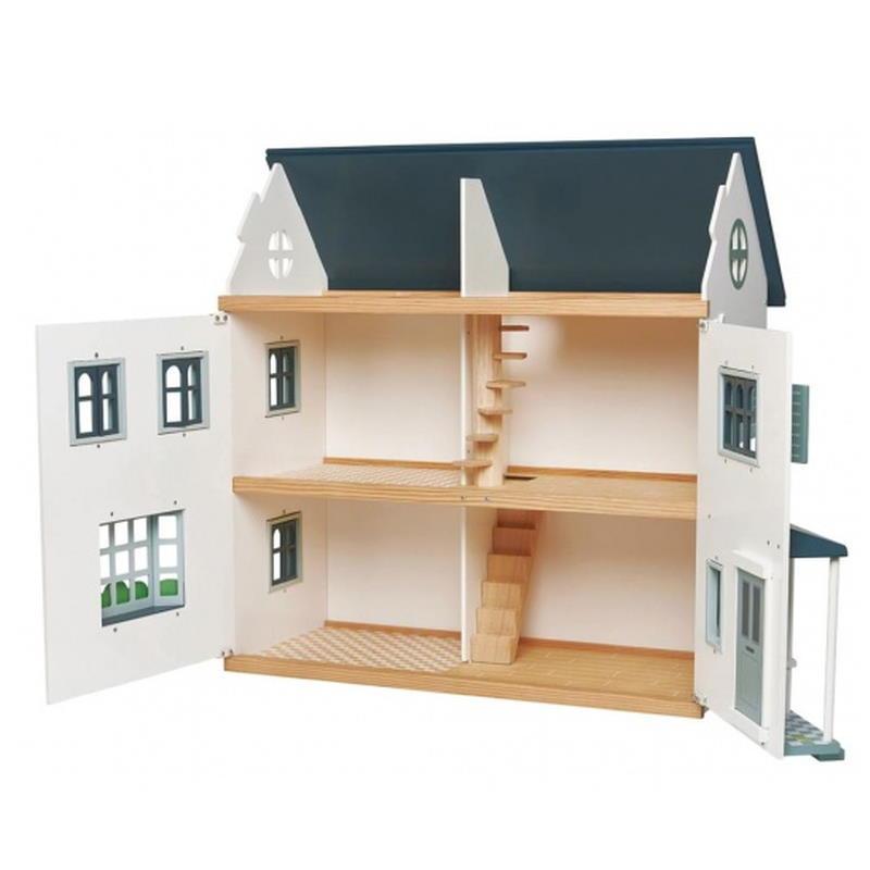 Aufgeklapptes Zweistöckiges Puppenhaus in Weiß mit blauem Dach.