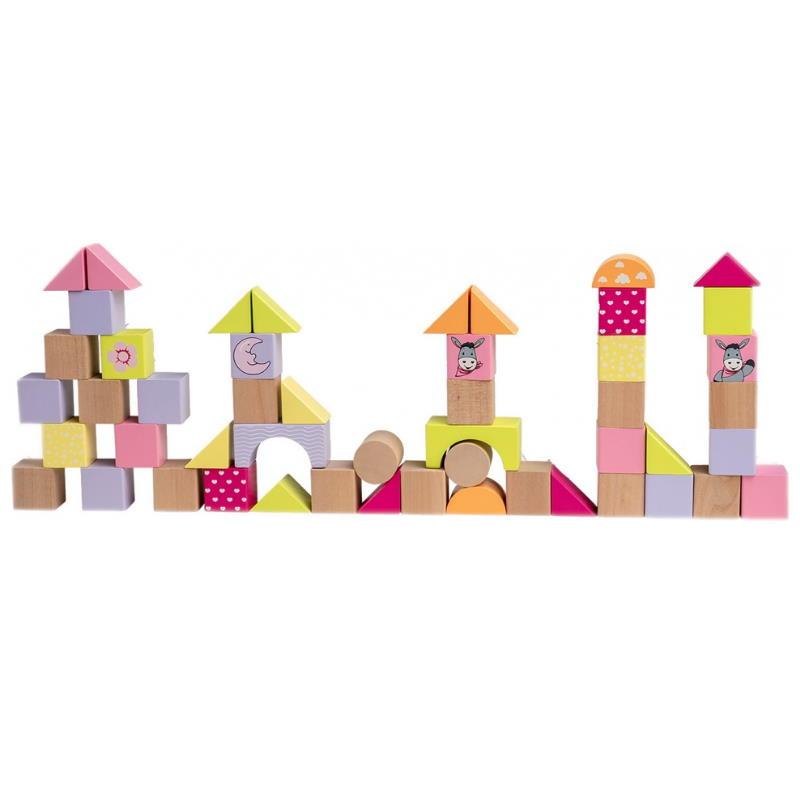 Bausteine aus Holz rosa