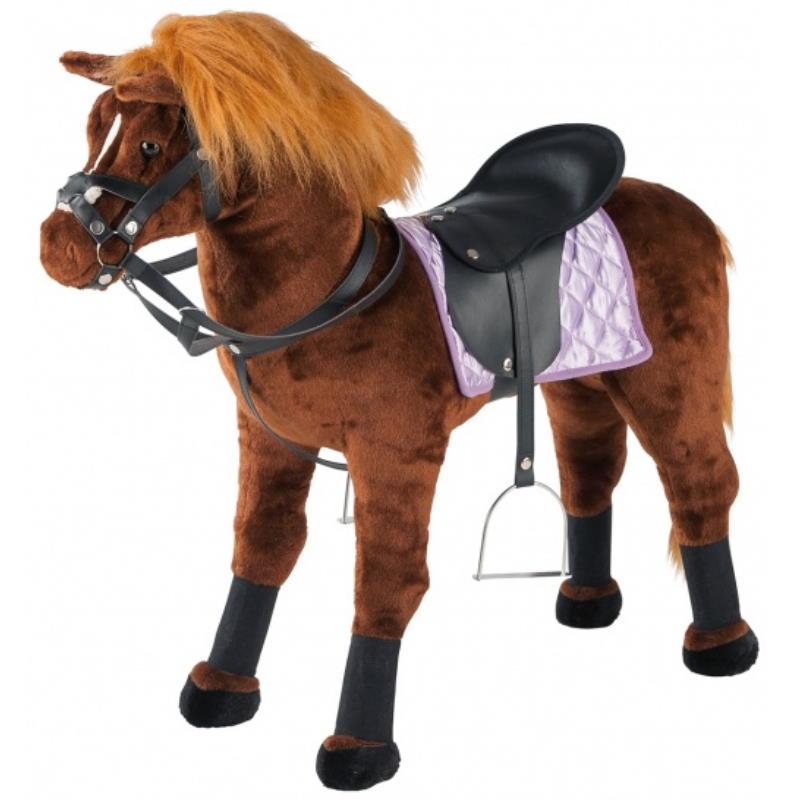 Braunes Pferd mit Blonder Menne und Sattelgeschirr in Schwarz für Kinder