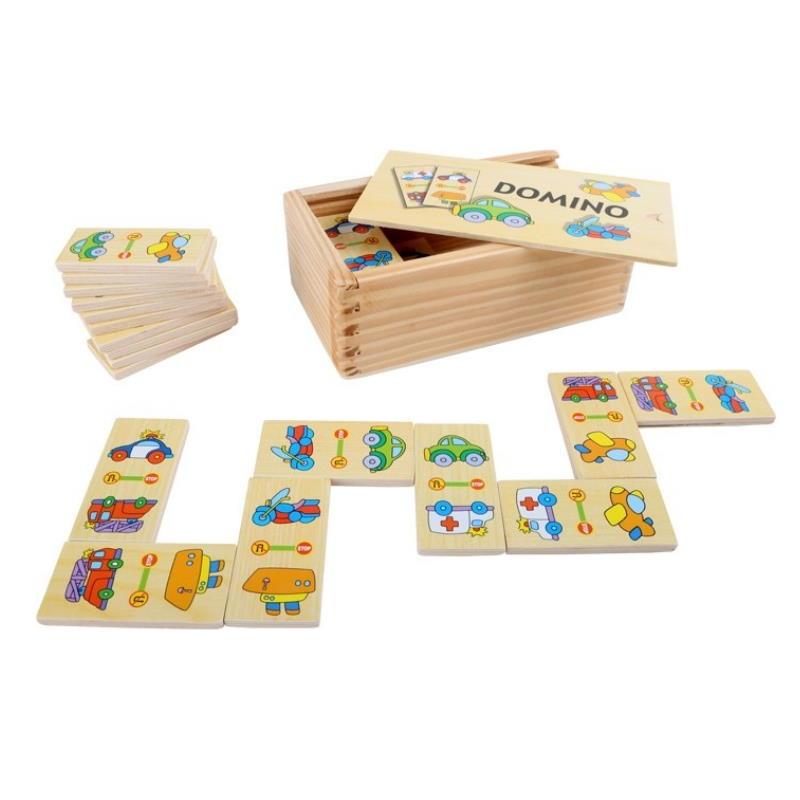 Domino aus Holz mit schönen Spielzeug Motiven