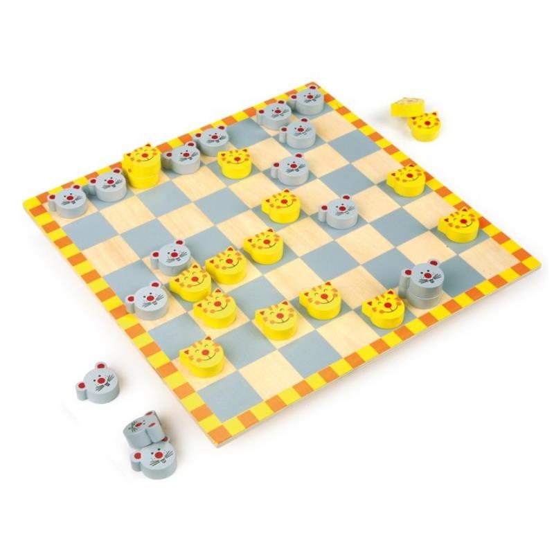 Dane für Kinder mit Spielfiguren Katze und Maus aus Holz