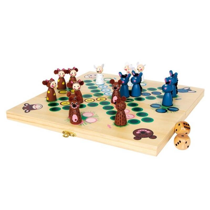 Ludo Brettspiel mit Würfel und Tierspielfiguren