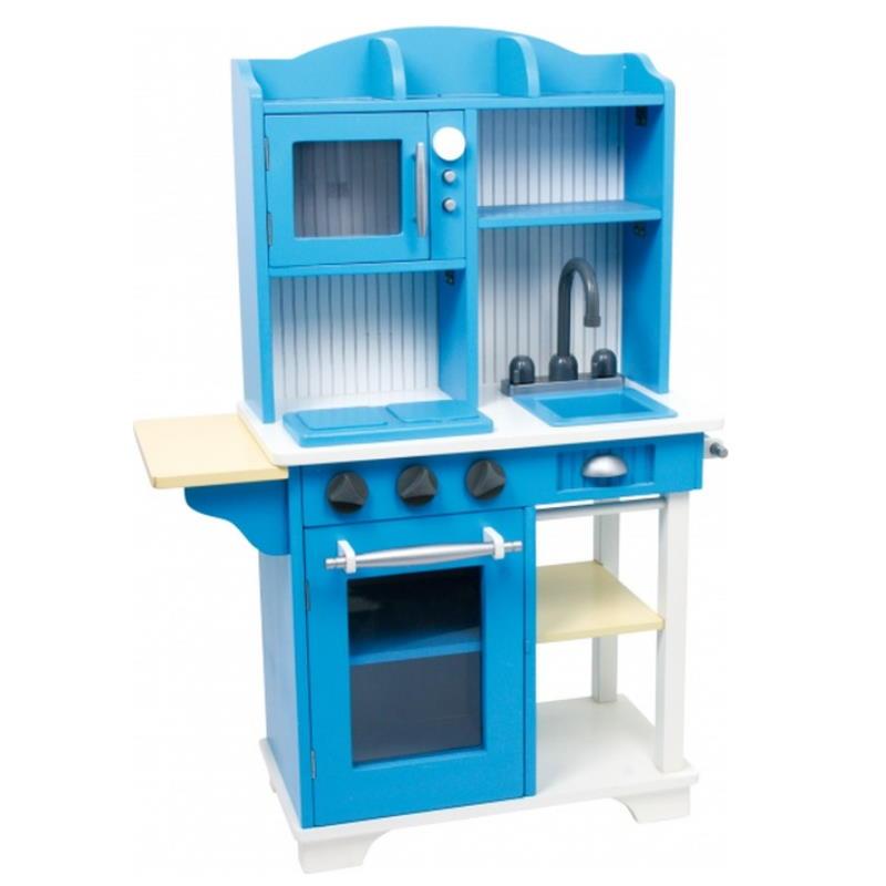 Spielküche aus Holz in blau
