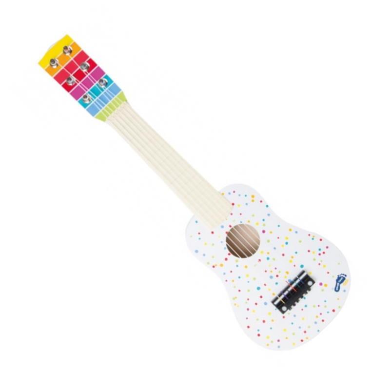 Gitarre aus Holz weis bunt