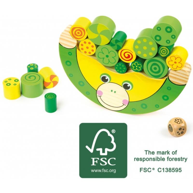 grünes Frosch Balancierspiel aus Holz