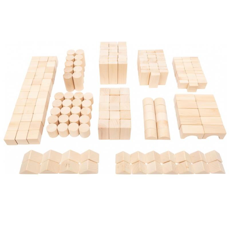 Holz Bausteine verschiedene Formen farblos
