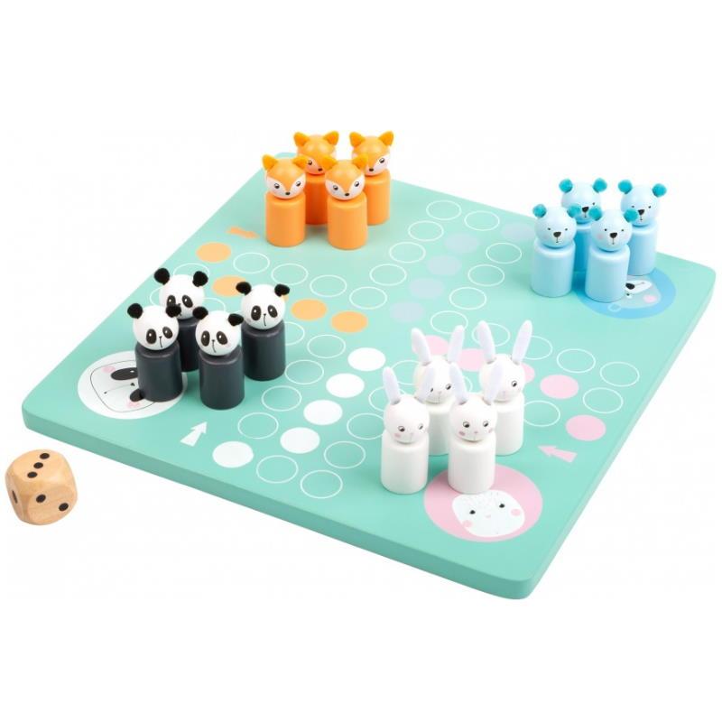 Ludo Spielbrett in Pastellfarben mit Spielfiguren und Würfel