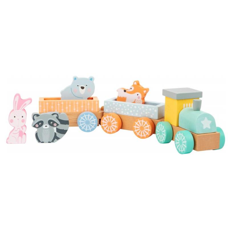 Zug in Pastellfarben mit Tieren aus Holz