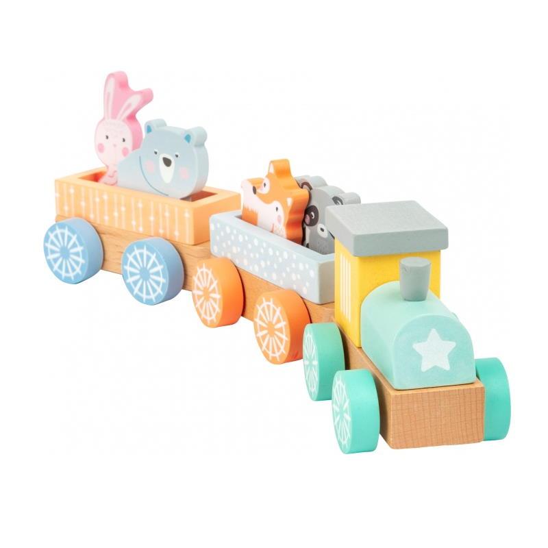 Vorderansicht Zug aus Holz Pastellfarben