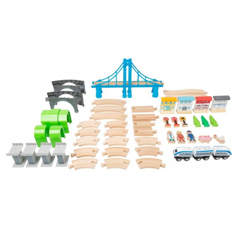 Holzeisenbahn Set alle Einzelteile. Zug Gleise Spielfiguren Bäume Häuser