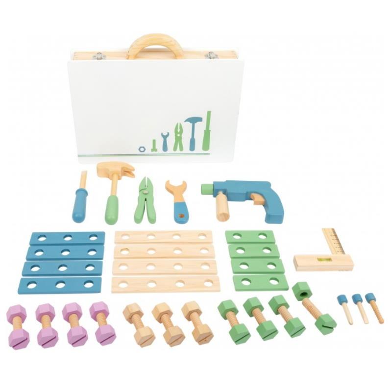Verschiedenes Spielwerkzeug aus Holz. Schrauben, Hammer, Maulschlüssel, Bohrmaschine, Scherre