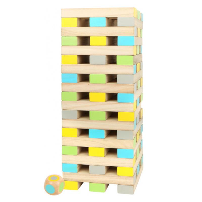 Wackelturm aus Holz verschiedene Farben