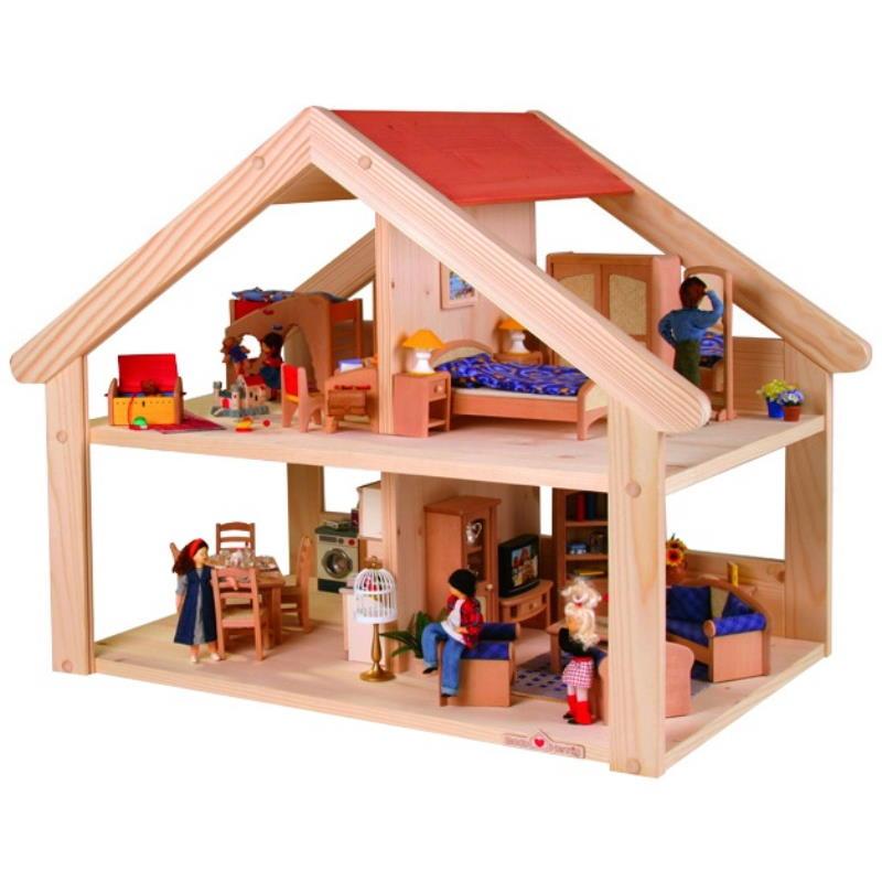 Offenes Spielhaus naturfarbe aus Holtz mit rotem Dach. Möbliert und mit Puppen