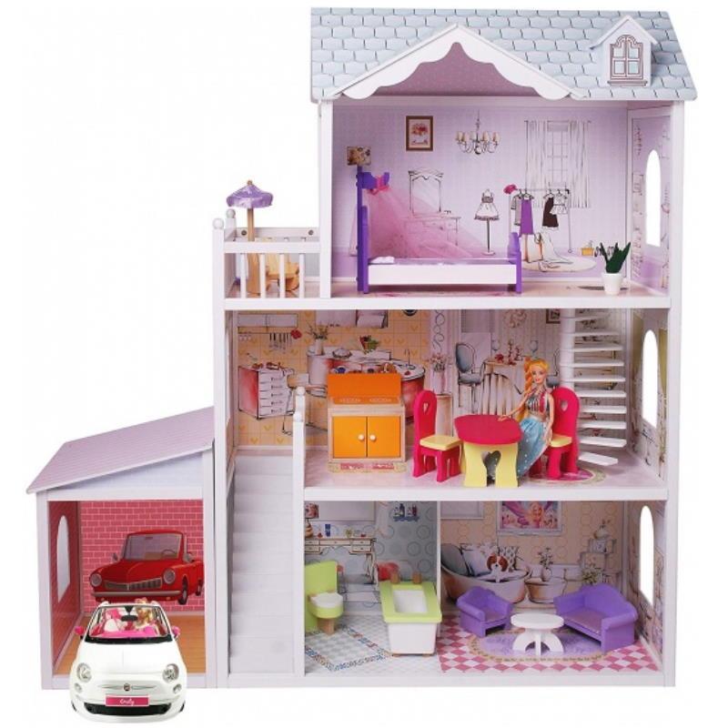 Lila farbenes drei Stöckiges Puppenhaus aus Holz mit Puppen Auto und Möbel
