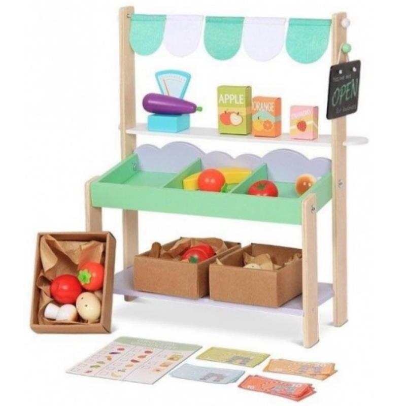 Marktstand aus Holz für Kinder mit Obst und anderem Zubehör