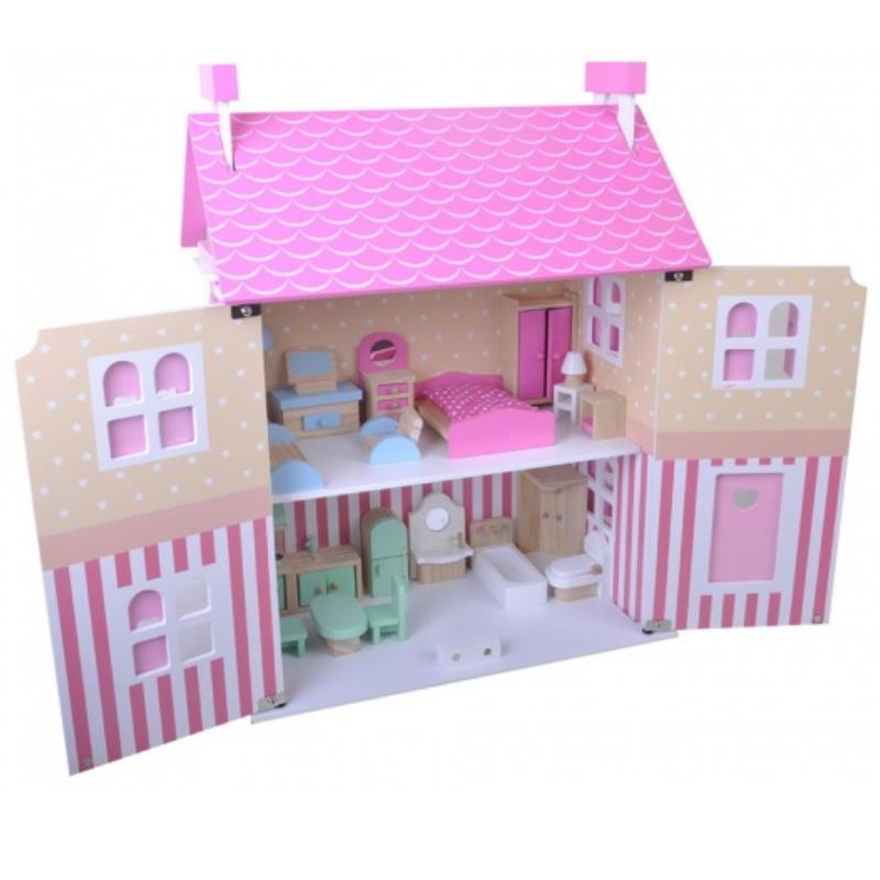 Rosa zwei Stöckiges Puppenhaus aus Holz in Pink