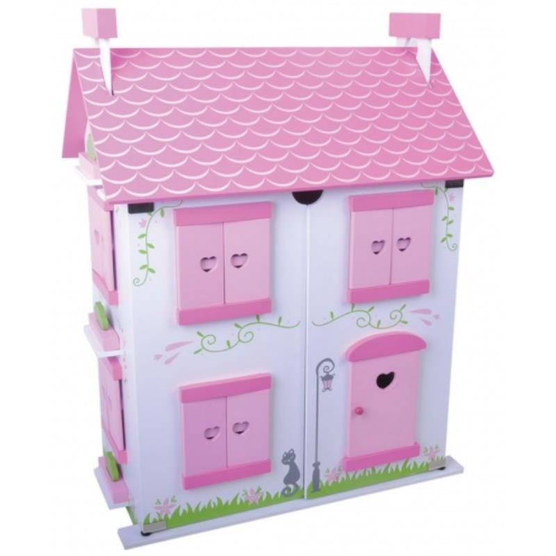 Schönes rosa Holz Puppenhaus aufklappbar
