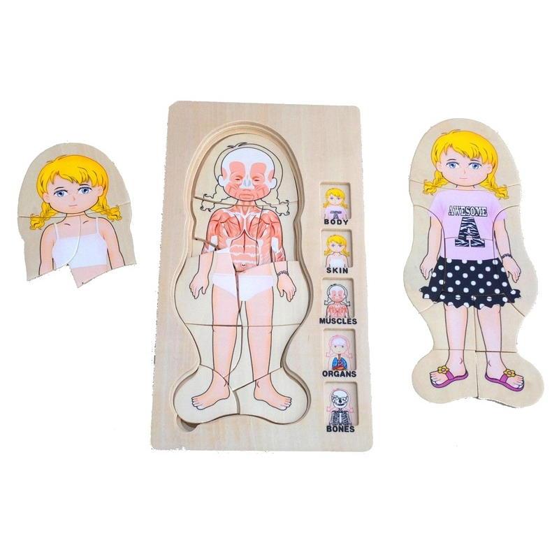 Mehrschichtiges Puzzle Mädchen Körper