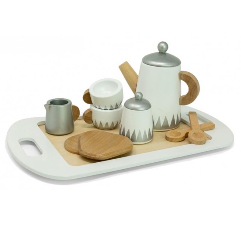 Teeservice aus Holz Tassen Löffel Teekanne