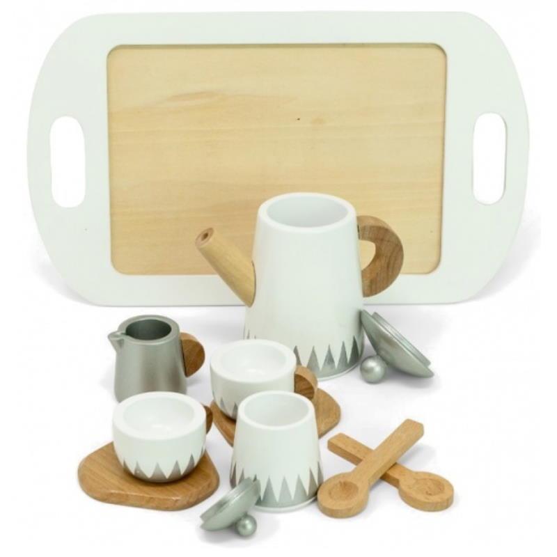 Spiel Teeservice aus Holz silber weiß