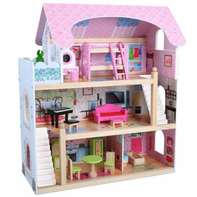 Pinkes Puppenhaus, drei Etagen mit Balkon voll Möbliert