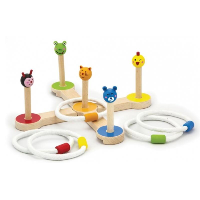 Wurfringspiel mit Tier Köpfen aus Holz. Huhn, Bär, Frosch