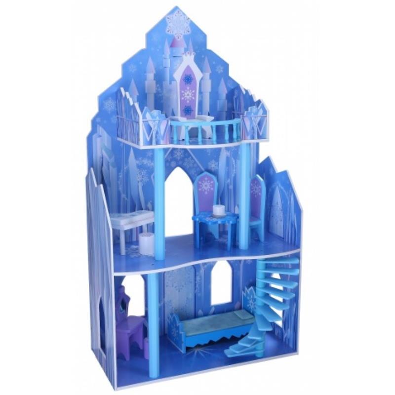 Eisschloss in blau Zweistöckig mit Balkon aus Holz