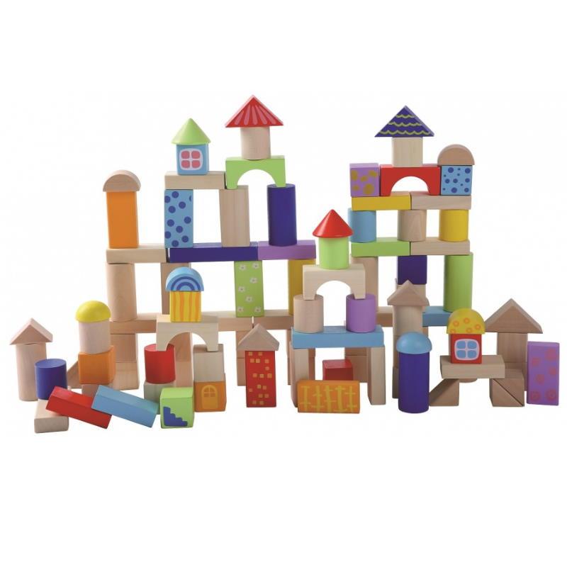 Bauklötze Turm aus Holz bunt.