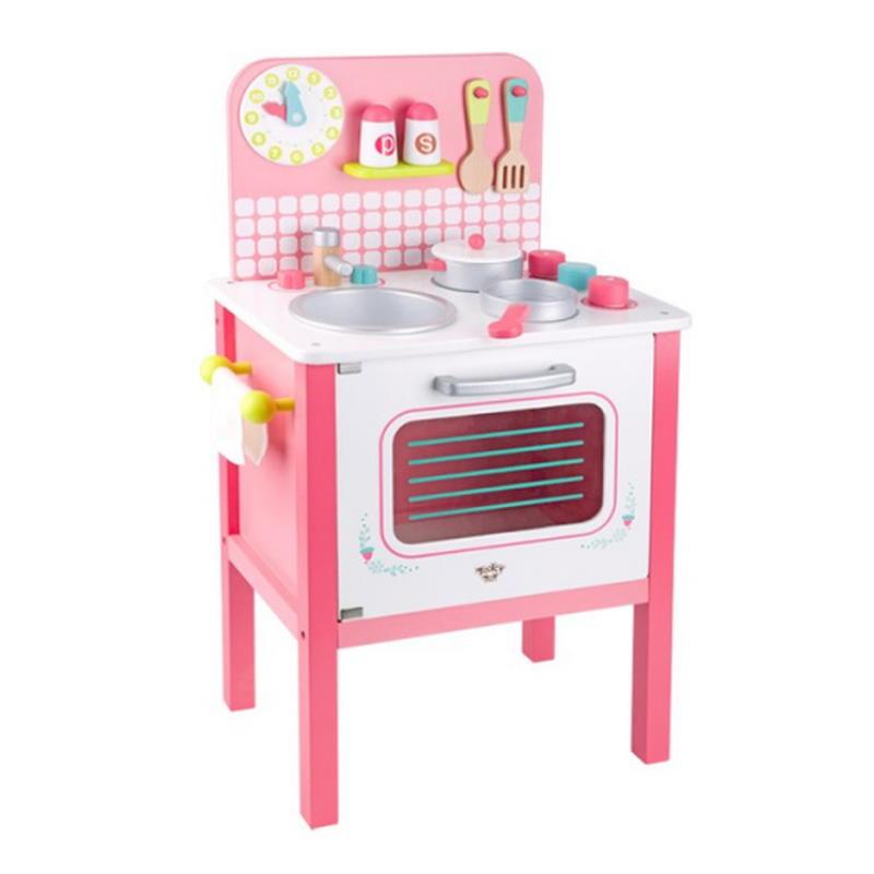 Kinderküche aus Holz in rosa mit Zubehör