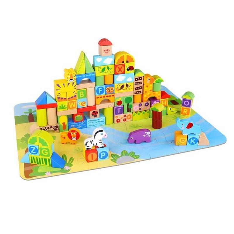 Bauklötze Burg auf Puzzle Fluss + Wiese Landschaft
