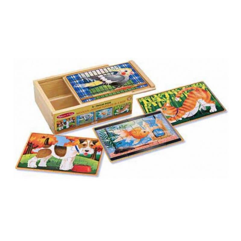 vier Puzzle mit Aufbewahrungsbox aus Holz