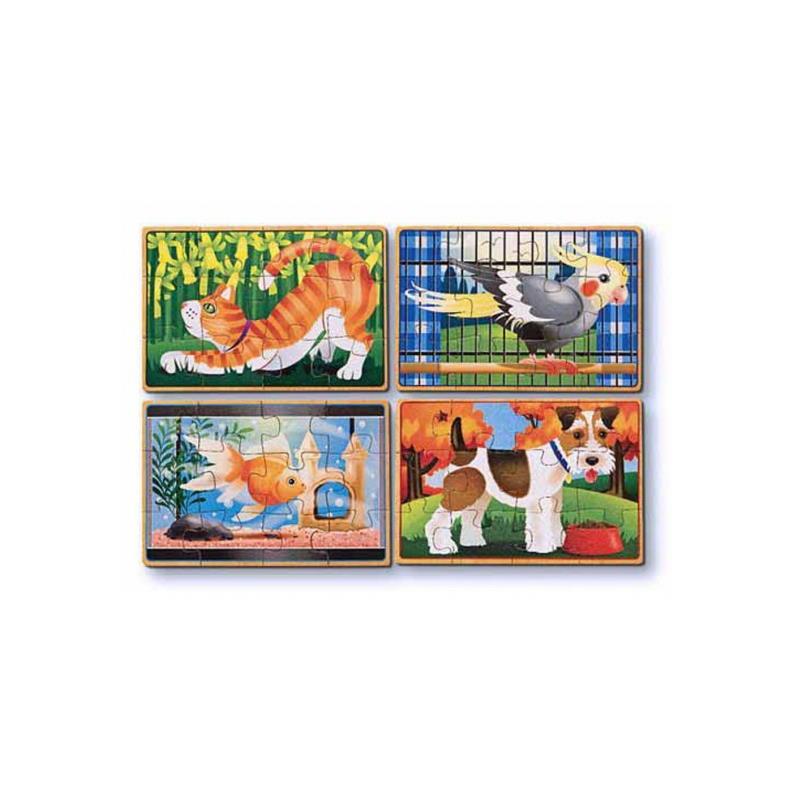 Vier Puzzle mit Tier Motiven. Katze, Vogel, Goldfisch, Hund.