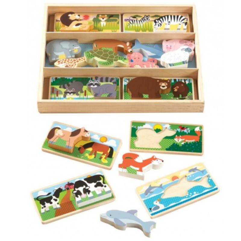 Holzpuzzle zum Stecken Tier Motive