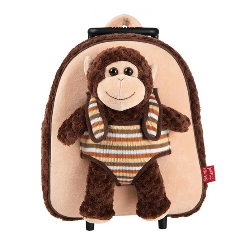 Brauner Trolley mit einem Affen als Kuscheltier