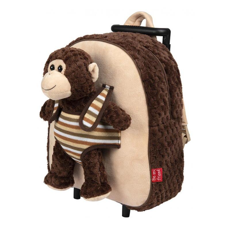 Trolley mit Rädern und ausziehbarem Griff und einem Affen als Kuscheltier zum rausnehmen