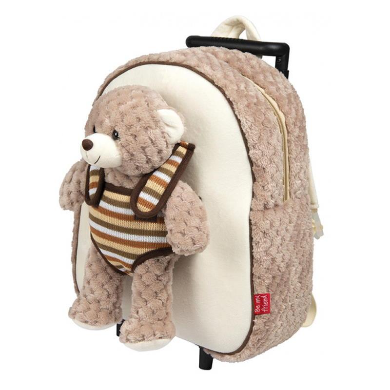 Trolley mit Rädern und ausziehbarem Griff und einem Teddy als Kuscheltier
