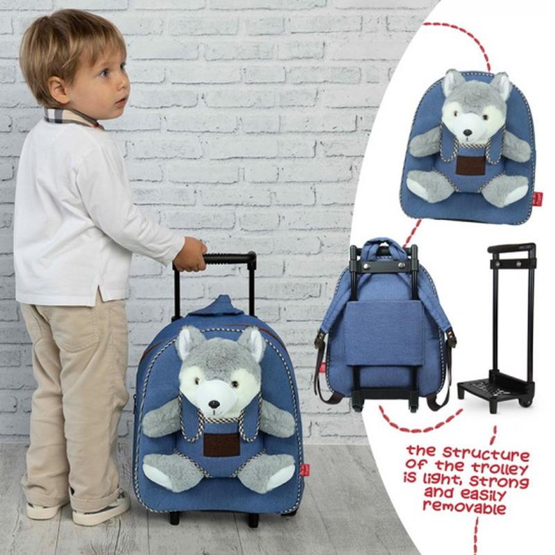 Junge mit einem blauem Kinder Trolley mit einem grauem Wolf Kuscheltier