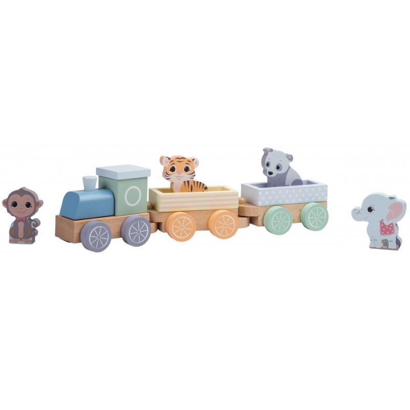 Ein bunter Spielzeugzug mit Tieren aus Holz