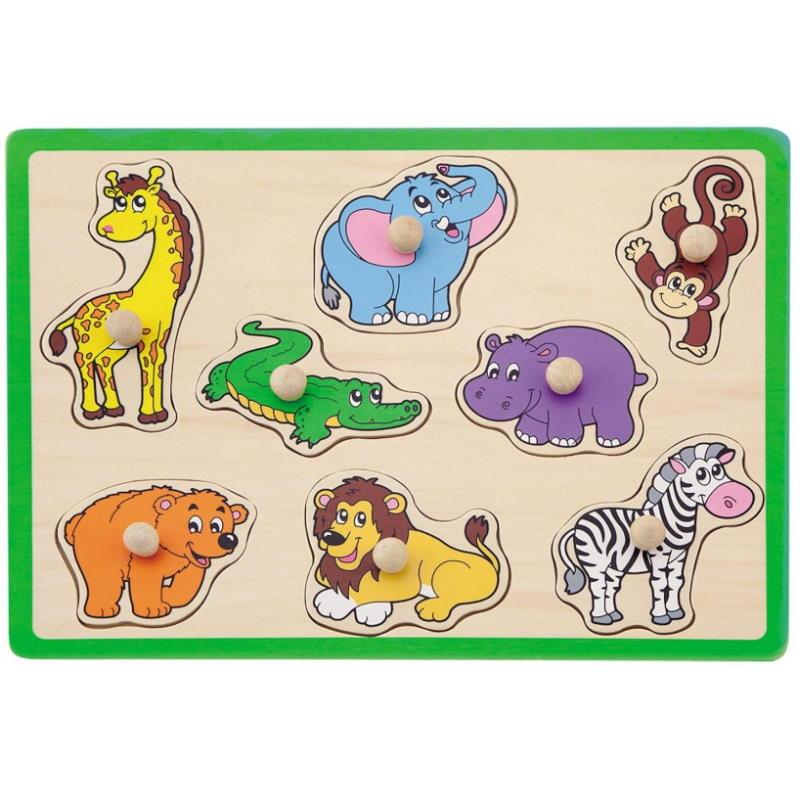 Puzzle Safari Tiere aus Holz grün
